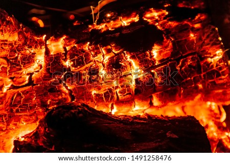 Burning log of wood close-up as abstract background. The hot embers of burning wood log fire. Firewood burning on grill. Texture fire bonfire embers. Smoldering fire #1491258476