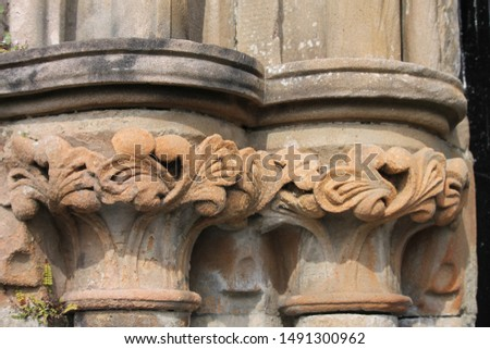 Exquisite designs of the old weathered columns.  #1491300962