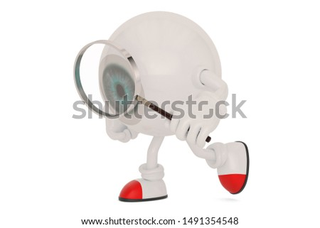Eyeball cartoon character and magnifier isolated on white background. 3D illustration. #1491354548