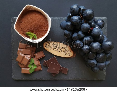 Foods rich in resveratrol. Resveratrol is a powerful antioxidant, present in grapes, cocoa powder, chocolate, plums, etc. Natural sources of resveratrol; foods containing antioxidants. #1491362087