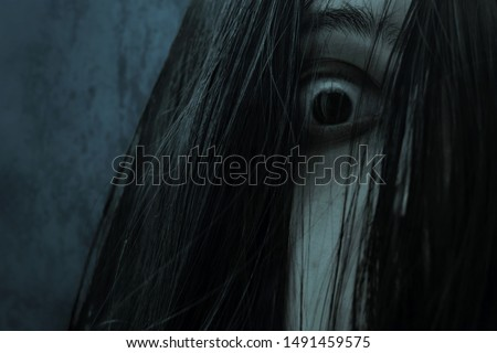 Close up of eye scary ghost woman Royalty-Free Stock Photo #1491459575