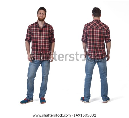Front and back of a man on white background #1491505832
