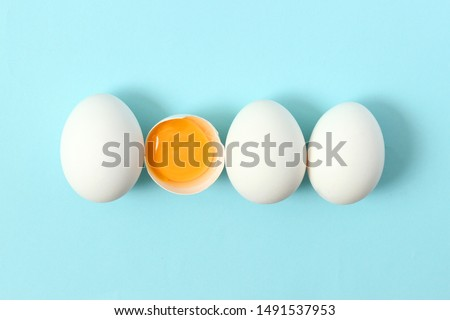 chicken eggs on a colored background. Farm products, natural eggs.  #1491537953