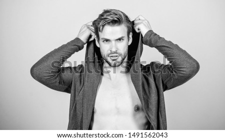 Masculinity concept. Masculinity and confidence. Man muscular torso wear hooded clothes. Brute masculinity extremely commanding looking conventionally handsome. Unconventional but masculine look. #1491562043