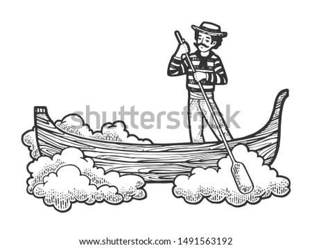 Fabulous flying gondola boat sketch engraving raster illustration. Tee shirt apparel print design. Scratch board style imitation. Hand drawn image.