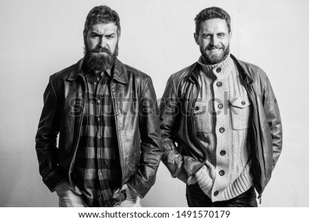 Brutal men wear leather jackets. Men brutal bearded hipster. Handsome stylish and cool. Masculine and brutal friends. Masculinity and brutality. Feel confident in brutal leather clothes. Bully team. #1491570179