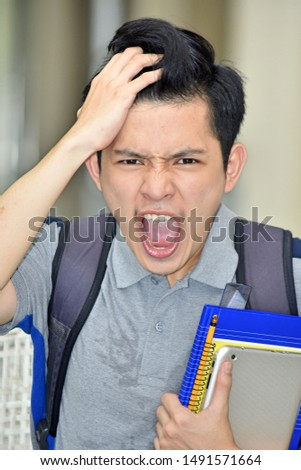 College Diverse Student Under Stress With Notebooks #1491571664