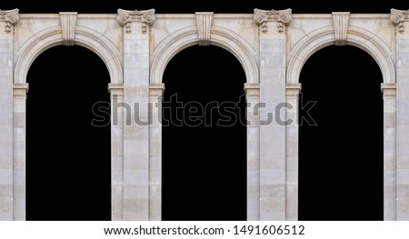 Elements of architectural decoration of buildings, arches and colonnades, columns and capitals, patterns and stucco molding. On the streets in Barcelona, ​​public places. #1491606512