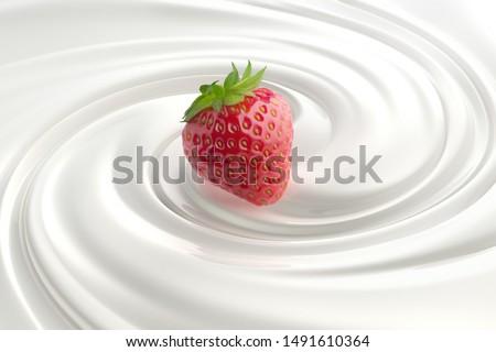 Strawberry in a milk or yogurt swirl #1491610364