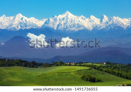 Garhwal Himalaya mountain range with scenic landscape at Binsar, Uttarakhand, India #1491736055