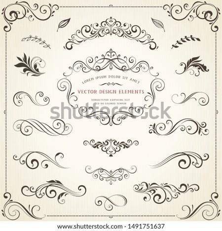 Vintage ornate frames, decorative ornaments, flourish and scroll elements. Vector illustration.