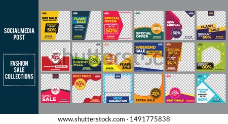 fashion sale social media post design template Bundle Premium Vector #1491775838