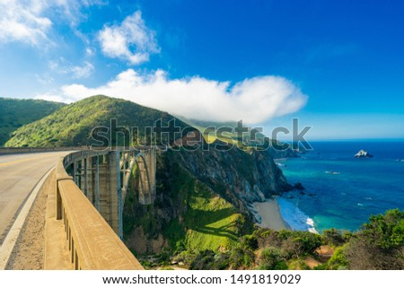 Bixby Creek Bridge on Highway (Highway 1) at the US West Coast traveling south to Los Angeles, Big Sur Area Royalty-Free Stock Photo #1491819029
