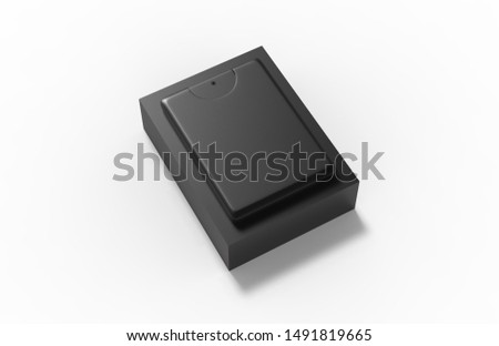 Pocket Perfume with packaging box isolated on white background, 3d illustration. #1491819665