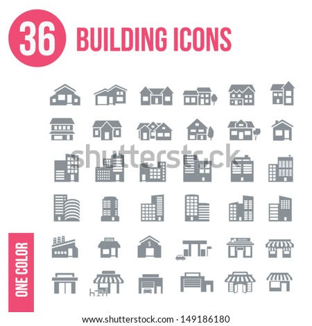 36 building icons set - one color
