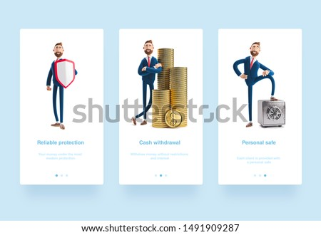 Illustration set. Portrait of a handsome cartoon character Billy with a stack of money. 3d illustration. Businessman Billy with shield. Safety and protection in business. Billy with safe and gold
