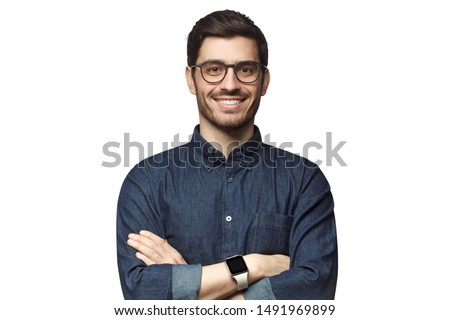 Portrait of young smiling caucasian man with crossed arms, wearing smart watch and casual denim shirt, isolated on white  #1491969899
