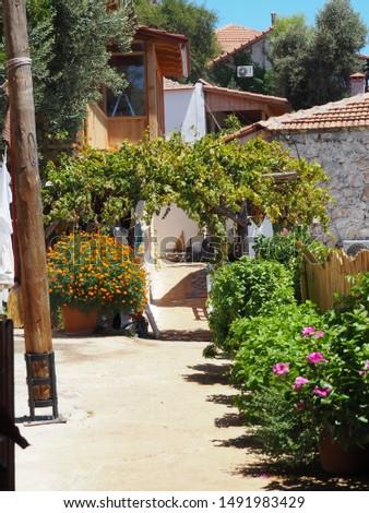 Kalekoy, Antalya / Turkey - 2019 August, 9: A street view in Kalekoy village, Kekova. The village consists of narrow streets. #1491983429