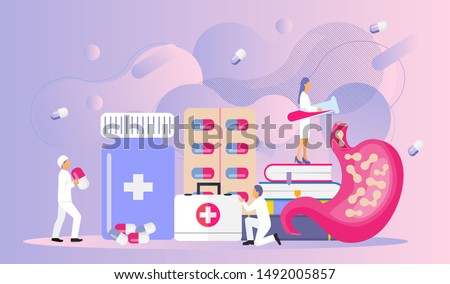 Tiny doctors give stomach probiotic bacteria, lactobacillus. Healthcare, immunity support concept illustration for horizontal banner, poster, flyer, website. Symbol of useful milk products.