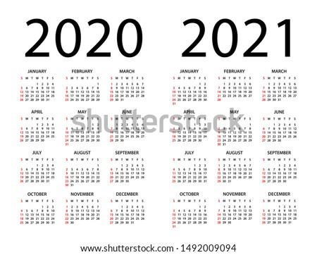Calendar 2020 2021 year - vector illustration. Week starts on Sunday Royalty-Free Stock Photo #1492009094