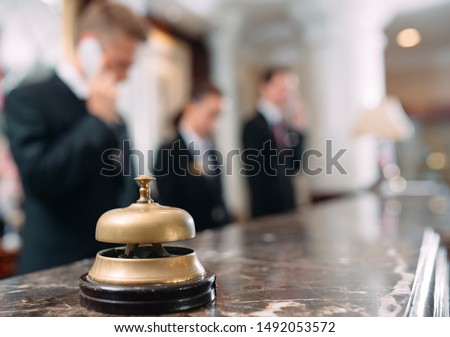 Hotel service bell Concept hotel, travel, room,Modern luxury hotel reception counter desk on background #1492053572