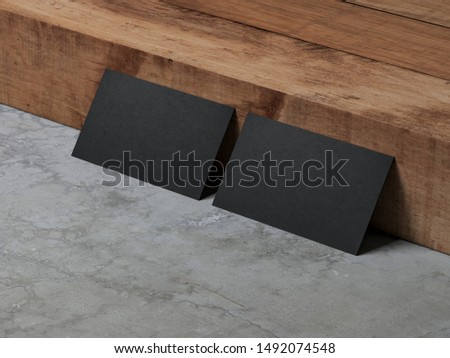 Two Black Business Cards Mockup standing near wooden stair , 3d rendering