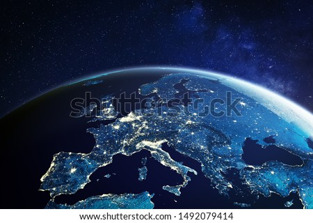 Europe from space at night with city lights showing European cities in Germany, France, Spain, Italy and United Kingdom (UK), global overview, 3d rendering of planet Earth, elements from NASA #1492079414