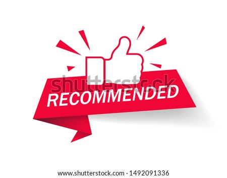 Recommended icon. Red label recommended with thumb up.Sign brand with recommended.Best tag for great brend.Banner ribbon thumb up on isolated background. vector illustration #1492091336