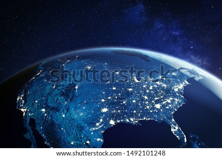 USA from space at night with city lights showing American cities in United States, global overview of North America, 3d rendering of planet Earth, elements from NASA Royalty-Free Stock Photo #1492101248