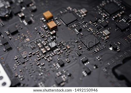 A black colour waterproof Printed Circuit Board with CPU, SMD & IC mounted part on board #1492150946