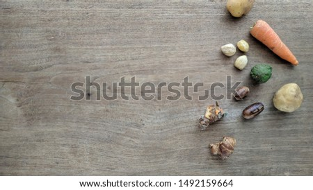 Spice variations on wood texture. Herbs concept background with copy space for text #1492159664