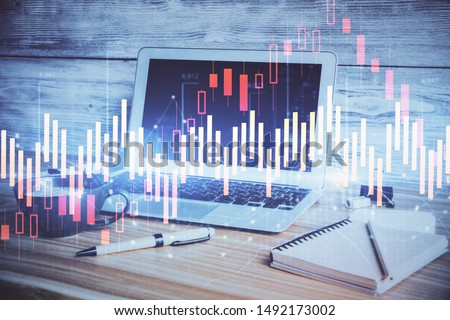 Multi exposure of forex chart and work space with computer. Concept of international online trading. #1492173002