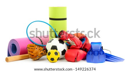 Sport equipment isolated on white Royalty-Free Stock Photo #149226374