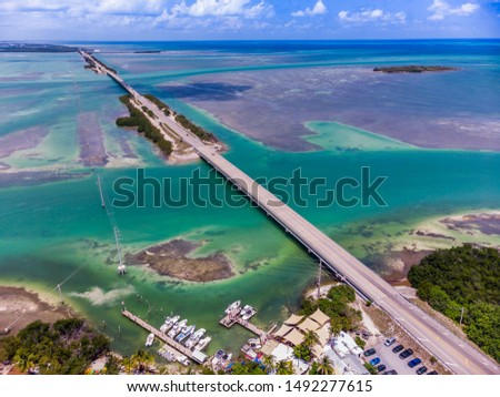 Aerial shot of U.S. route 1, Key West , Florida Royalty-Free Stock Photo #1492277615
