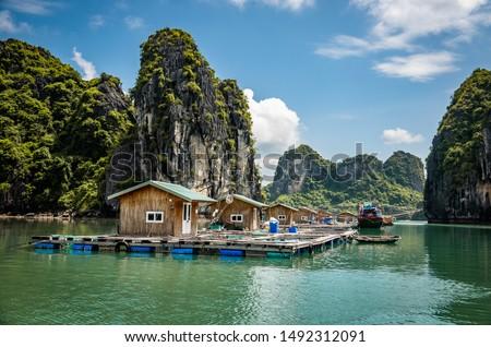 Vung Vieng floating fishing village at Bai tu Long Bay / Halong Bay, Vietnam. Royalty-Free Stock Photo #1492312091