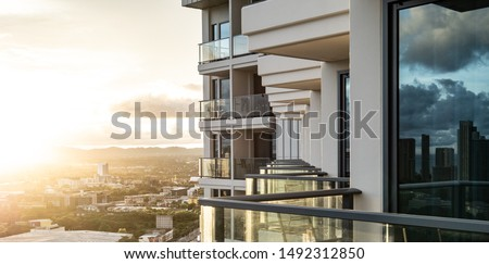 pattaya sun rise top view city with modern hotel balcony. background for thailand travel and relaxation Royalty-Free Stock Photo #1492312850