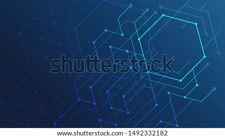 Abstract lines and dots connect background. Technology connection digital data and big data concept. Royalty-Free Stock Photo #1492332182