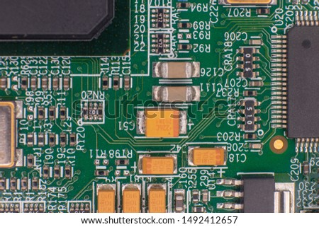 Printed circuit bords detail, gold plated, integrated circuits and resistors #1492412657