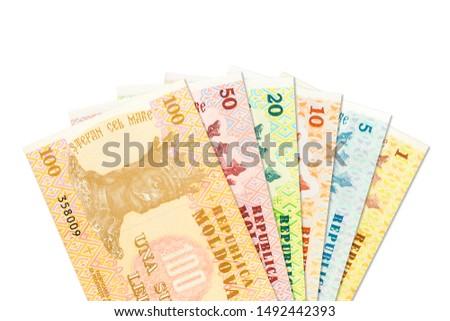 some moldovan leu banknotes indicating growing economics with copyspace #1492442393
