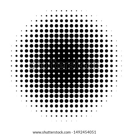 Circle in Halftone, Halftone Dot Pattern, Raster Illustration.