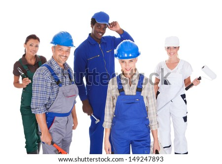 Group Of People Representing Diverse Professions On White Background #149247893