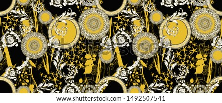 Endless baroque print pattern in black and yellow colors #1492507541