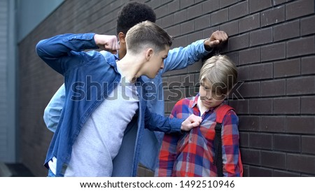 Cruel students threatening to punch junior boy, school bullying, intimidation #1492510946