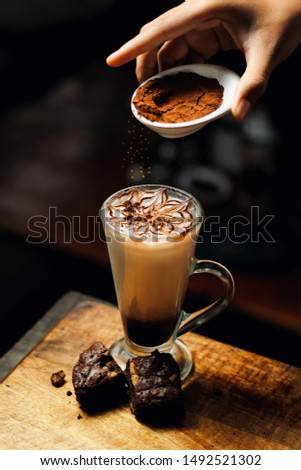 Picture of cold coffee with brownie cake