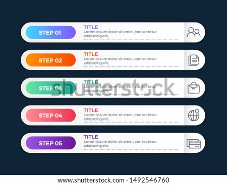 Vector Infographic label design template with icons and 5 options or steps. Vector illustration #1492546760