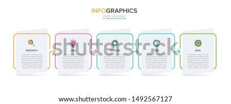 Infographic design with icons and 5 options or steps. Thin line vector. Infographics business concept. Can be used for info graphics, flow charts, presentations, web sites, banners, printed materials. #1492567127