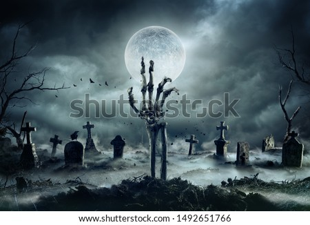 Skeleton Zombie Hand Rising Out Of A GraveYard - Halloween #1492651766