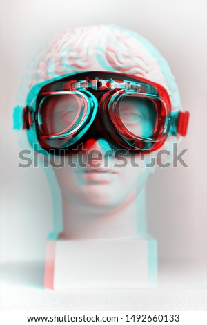 3d anaglyph effect. Statue. Gypsum statue of Venus's head in pilot glasses. Vintage style. Statue renaissance epoch, Renaissance interested in? Isolated. Glitch Art. Creative. Aviator glasses. #1492660133