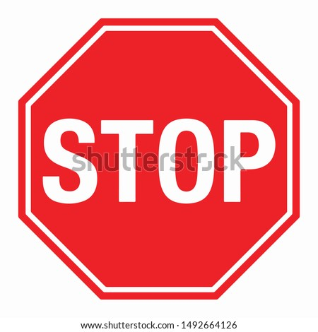 Wall Red Stop Sign Vector illustration EPS10 Royalty-Free Stock Photo #1492664126