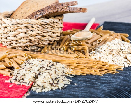 different types of natural whole grain foods #1492702499